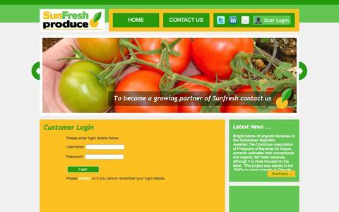 Screenshot of Login Page sunfreshproduce.com - Sunfresh Produce   Customer Login - captured Oct. 7, 2014