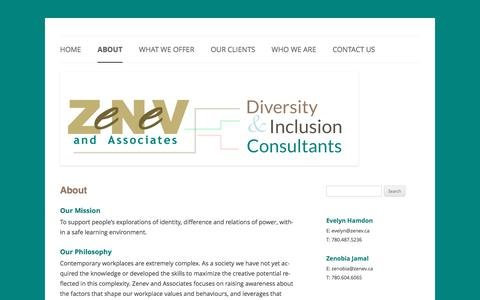 Screenshot of About Page zenev.ca - About | Zenev & Associates - captured Nov. 28, 2016