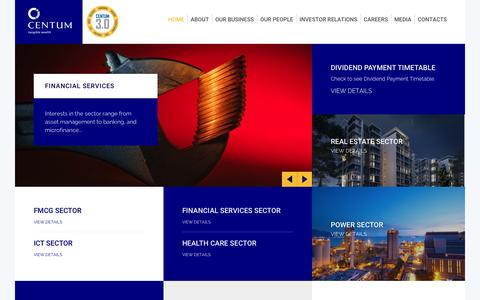 Screenshot of Home Page centum.co.ke - Home - Centum Investment | Tangible Wealth - captured Nov. 1, 2016