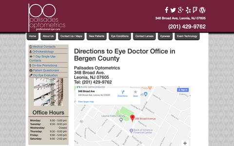 Screenshot of Maps & Directions Page eyepalnj.com - Directions to Palisades Optometrics   Directions to Optometrist near Fort Lee   Ridgefield Park Eye Doctor Directions - captured Sept. 26, 2018