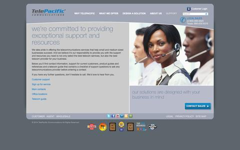 Screenshot of Support Page telepacific.com - Support, Resources | TelePacific - captured Sept. 17, 2014