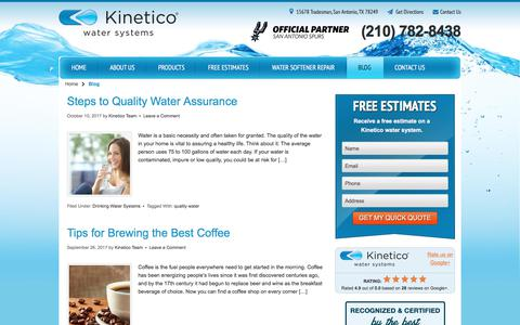 Screenshot of Blog kineticosa.com - Home Water Treatment Blog | Kinetico San Antonio - captured Oct. 17, 2017