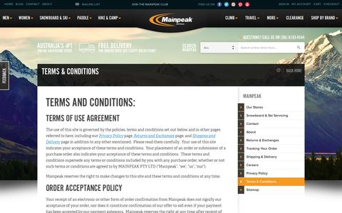 Screenshot of Terms Page mainpeak.com.au - Terms & Conditions   Australia's Outdoor Clothing, Equipment & Adventure Store   Mainpeak - captured Feb. 4, 2016