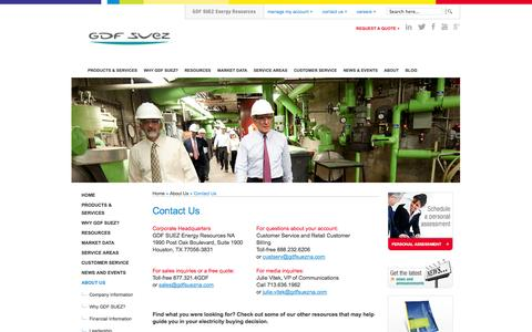 Screenshot of Contact Page gdfsuezenergyresources.com - GDF SUEZ Energy Resources | Contact Us - captured Nov. 3, 2014