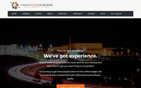 Screenshot of Home Page frontrangesystems.com - Home - captured Nov. 6, 2018