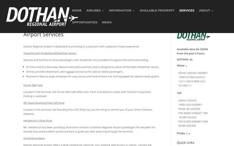 Screenshot of Services Page flydothan.com - Airport Services - Fly Dothan - captured Nov. 14, 2018