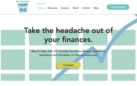 Screenshot of Home Page mbr-cpa.com - Mary B. Riley, CPA, P.C. | Johnson City, TN - captured Oct. 17, 2018