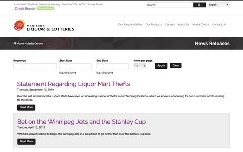Screenshot of Press Page mbll.ca - News Releases | Manitoba Liquor & Lotteries - captured Oct. 1, 2018