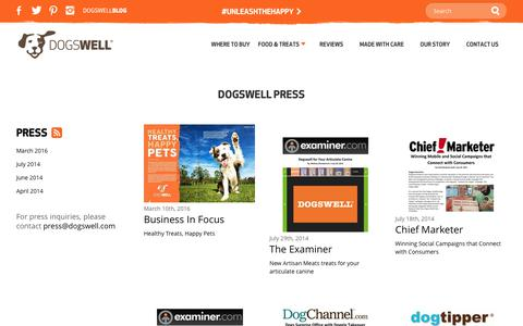 Screenshot of Press Page dogswell.com - Dogswell | Press - captured June 4, 2017