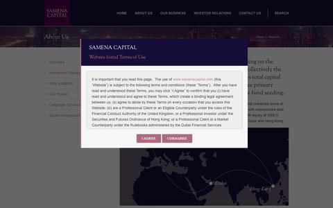 Screenshot of About Page samenacapital.com - Samena Capital   – About Us - captured Sept. 30, 2014
