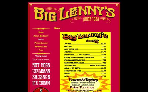 Screenshot of Menu Page biglennys.com - Menu  →   Big Lenny's Hot Dogs - captured Oct. 5, 2014