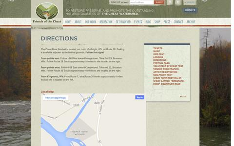 Screenshot of Maps & Directions Page cheat.org - Directions | Friends of the Cheat - captured Oct. 6, 2014
