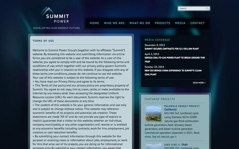 Screenshot of Terms Page summitpower.com - Terms of Use | Summit Power - captured Nov. 4, 2017