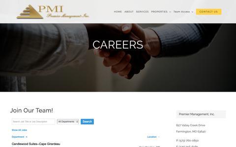 Screenshot of Jobs Page pmihotels.com - Careers - Premier Management, Inc - captured Nov. 11, 2018