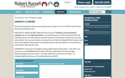 Screenshot of Contact Page robert-russell.com - Contact a Lawyer - Robert Russell Law Group - captured Oct. 6, 2014