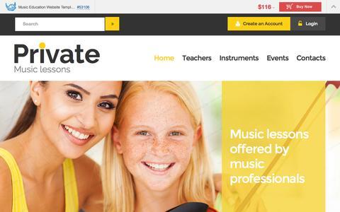 Screenshot of templatemonster.com - Demo for Music Education Website Template #53106 - captured Sept. 26, 2015