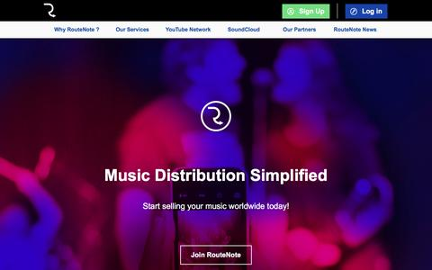 Screenshot of Home Page routenote.com - RouteNote | RouteNote: Sell Your Music Online - Digital Music Distribution - Promotion - Publishing - captured April 2, 2017