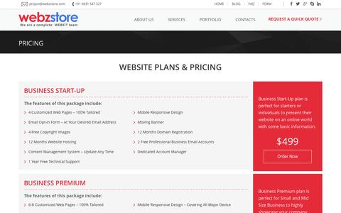 Screenshot of Pricing Page webzstore.com - Business Website Packages - captured Feb. 14, 2016
