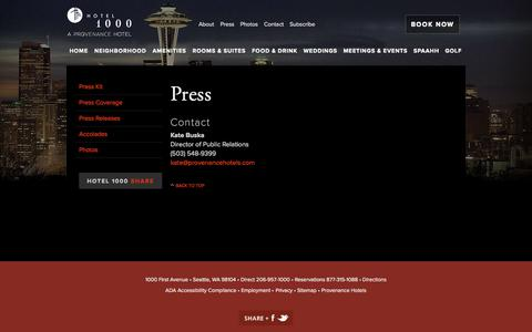 Screenshot of Press Page hotel1000seattle.com - Press | Hotel 1000 - captured Sept. 22, 2014