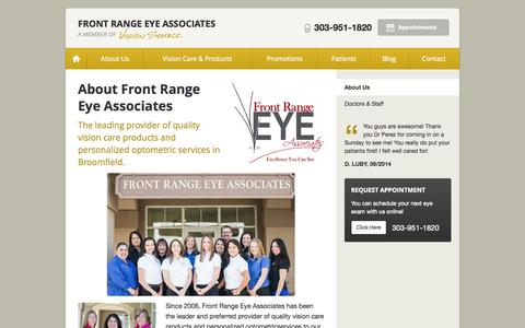 Screenshot of About Page visionsource-frea.com - About Front Range Eye Associates in Broomfield CO - captured Oct. 6, 2014