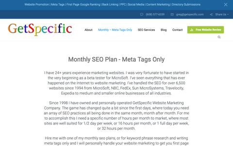 Screenshot of Pricing Page getspecific.com - First Page Google Ranking - Monthly - Meta Tags Only - 24 Years Exp - captured Oct. 21, 2018