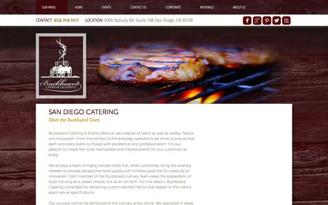 Screenshot of About Page buckboardsd.com - San Diego Catering - captured Feb. 8, 2016