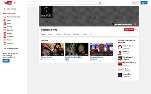 Screenshot of YouTube Page youtube.com - Metáfora Films  - YouTube - captured Oct. 27, 2014