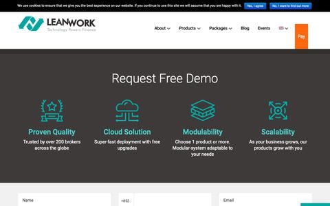 Screenshot of Trial Page lwork.com - Request Free Demo - LeanWork - captured Sept. 27, 2018