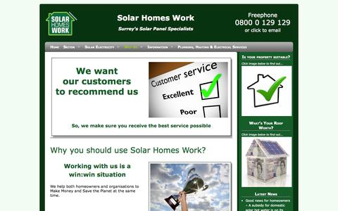 Screenshot of About Page solarhomeswork.co.uk - SOLAR PANELS IN SURREY, London, Miiddlesex and Sussex | Solar Homes Work - captured Oct. 8, 2014