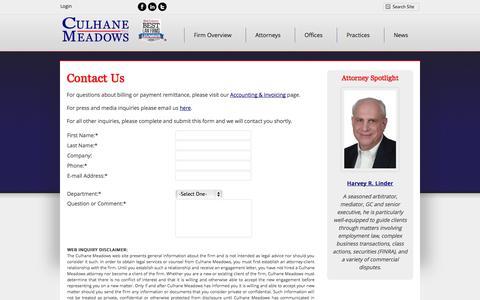 Screenshot of Contact Page culhanemeadows.com - Contact Us Form | Culhane Meadows PLLC - captured Oct. 3, 2014