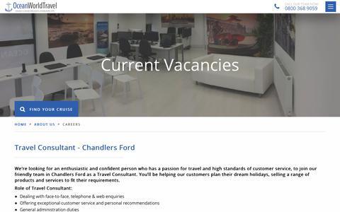 Screenshot of Jobs Page oceanworldtravel.com - Ocean World Travel careers - captured Sept. 21, 2018
