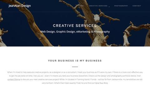 Screenshot of Services Page jeanalan.com - Creative Services - Print design, web design and emarketing - captured April 13, 2017