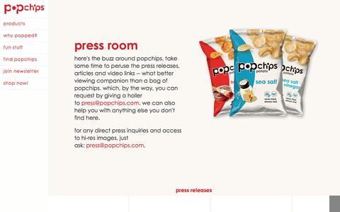 Screenshot of Press Page popchips.com - popchips  | press room - captured July 25, 2018