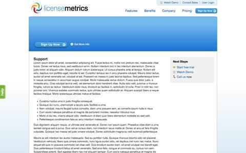 Screenshot of Support Page licensemetrics.com - Support - captured Sept. 16, 2014