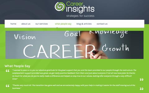 Screenshot of Testimonials Page careerinsights.co.nz - Testimonials and What People Say about Career Insights - captured Oct. 1, 2014