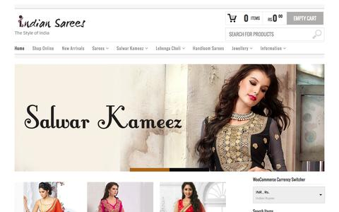 Screenshot of Home Page indiansaree-online.com - Indian Sarees Online | Buy Saree Online | Online Shopping - captured Jan. 17, 2016