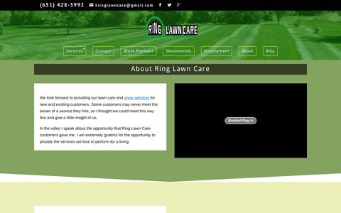 Screenshot of About Page ringlawncare.com - About Bryan Ring of Ring Lawn Care Stillwater MN - captured Jan. 11, 2016