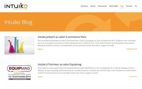 Screenshot of Blog intuiko.com - Intuiko, nos actualités   Intuiko - captured Sept. 30, 2014