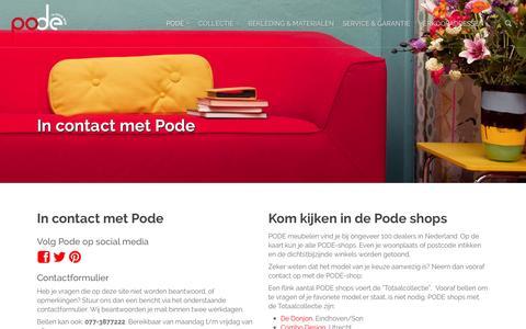 Screenshot of Contact Page pode.nl - Contact - Pode - captured Oct. 28, 2014