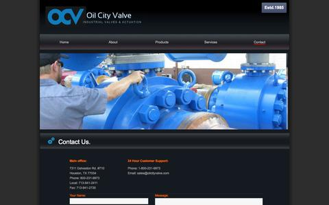 Screenshot of Contact Page oilcityvalve.com - Contact   Oil City Valve- Valve Distribution and Automation- Houston TX- - captured Oct. 27, 2014