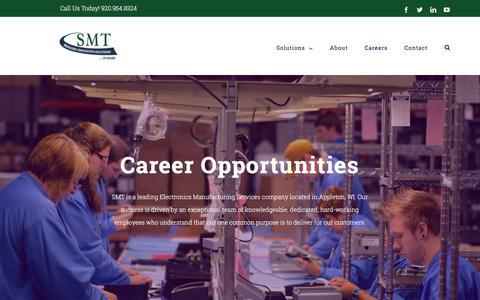 Screenshot of Jobs Page teamsmt.com - Careers   SMT - captured Sept. 25, 2018