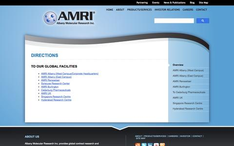 Screenshot of Maps & Directions Page amriglobal.com - Directions to AMRI's Global Facilities | Albany Molecular Research - captured Oct. 3, 2014