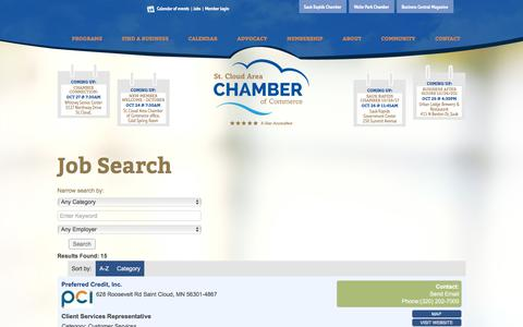 Screenshot of Jobs Page stcloudareachamber.com - Job Search - St. Cloud Area Chamber of Commerce - captured Oct. 23, 2017