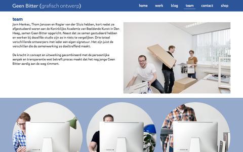Screenshot of Team Page geenbitter.nl - Geen Bitter is een grafisch ontwerp studio in Den Haag - captured Sept. 29, 2014