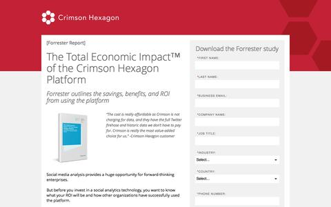 Screenshot of Landing Page crimsonhexagon.com - Forrester Social Media Analysis | Total Economic Impact Crimson Hexagon - captured Feb. 5, 2017