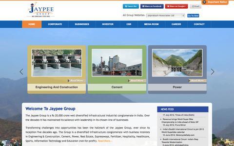 Screenshot of Home Page jalindia.com - Home - captured Sept. 19, 2014