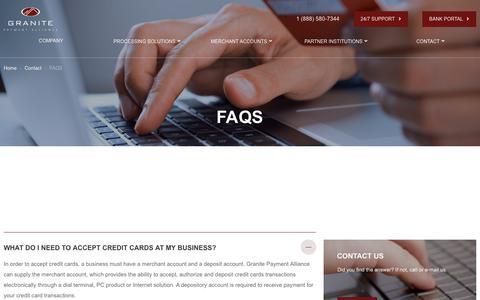 Screenshot of FAQ Page progpa.com - FAQS - Granite Payment Alliance - captured Nov. 11, 2018