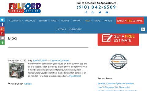 Screenshot of Blog fulfordhvac.com - Blog - Al Fulford Heating and Cooling - captured Oct. 3, 2018