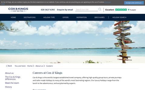 Screenshot of Jobs Page coxandkings.co.uk - Careers at Cox & Kings| Latest Job Openings | Cox & Kings Travel - captured Nov. 8, 2018