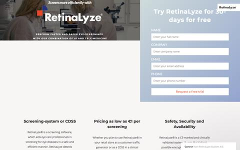 Screenshot of Trial Page retinalyze.com - Ganesh says… - captured Jan. 30, 2018